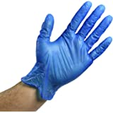 Vinyl Medical Hand Gloves Disposable : Blue Vinyl Safety Gloves for Cooking, Cleaning, Dishwashing, Food Handling, Hair…