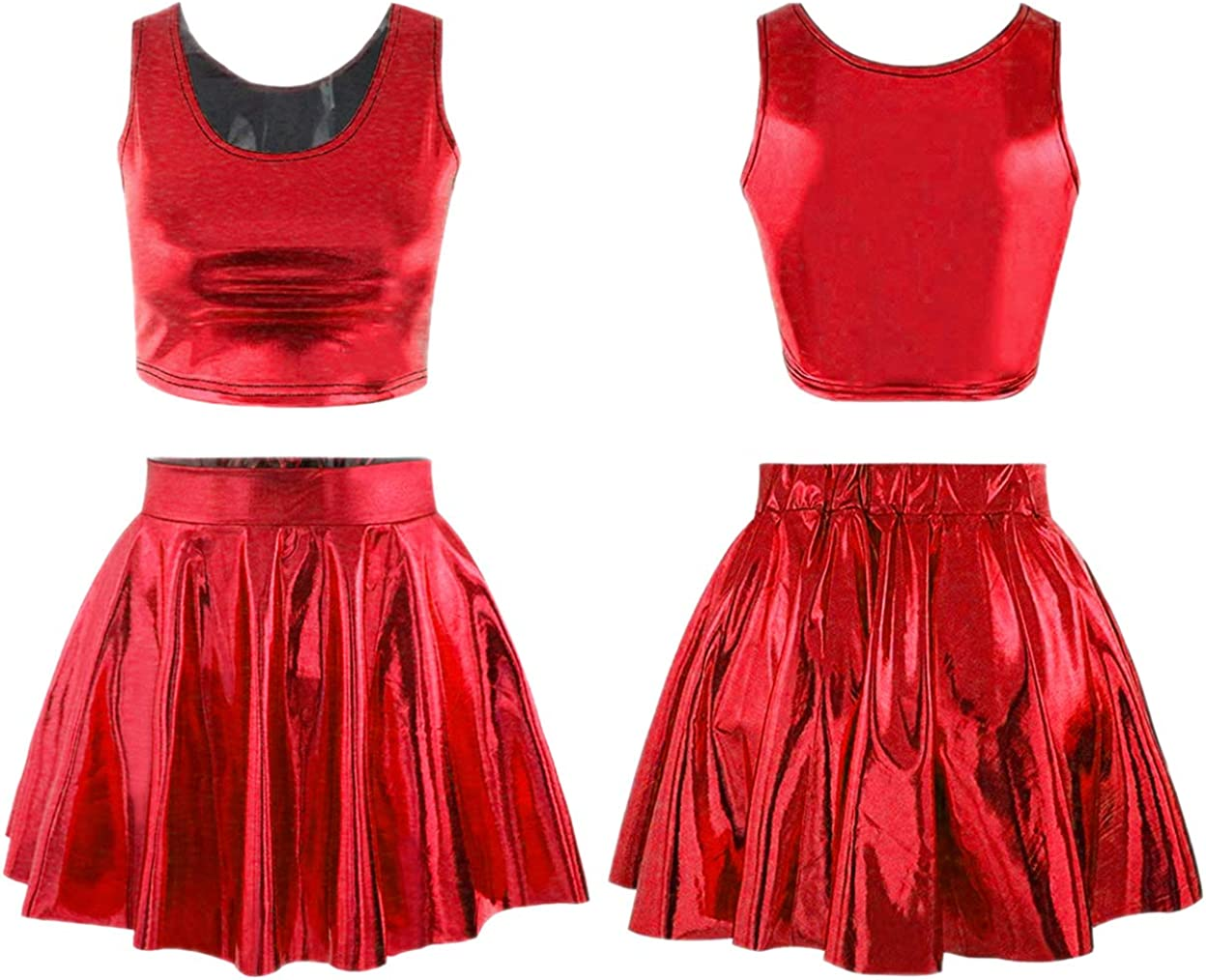Jescakoo Two Piece Faux PU Leather Cheerleader Skirt and Crop Tops for Women Silver at  Women's Clothing store