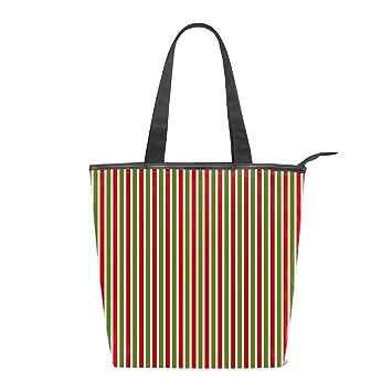 2eecd835ad Amazon.com  Women Canvas Handbag Red Green Stripe Purse Shoulder Bag  Messenger Bag Mom Bag for Women  Beauty