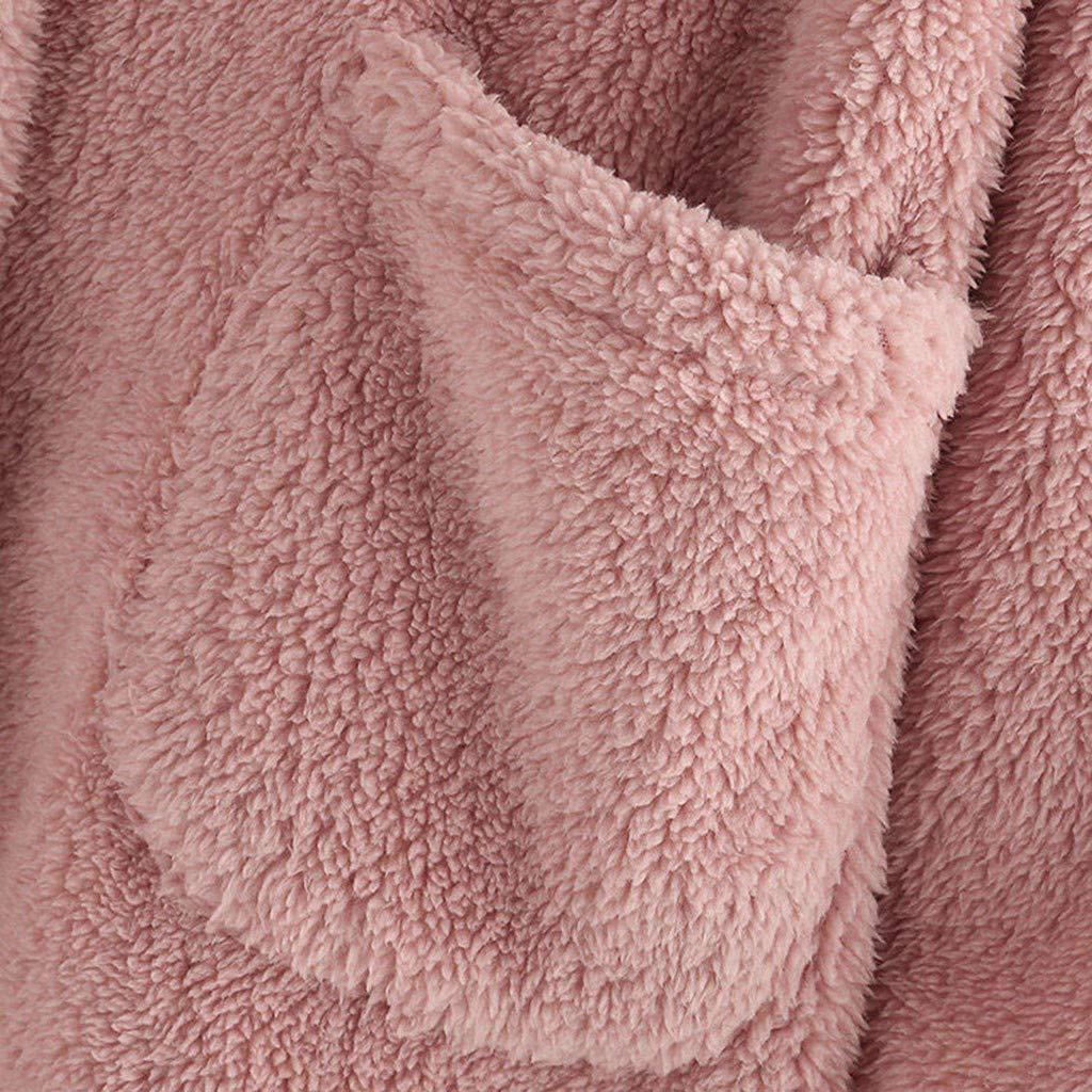 Herbst Winter Pl/üsch Hooded Pullover Jacke Oversize Kuscheljacke Warme Mantel Kapuzenjacke /Übergangsjacke Lulupi Damen Winterjacke Teddy Fleece Pl/üschjacke mit Taschen