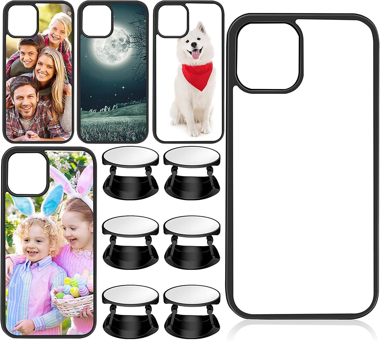 10 Sublimation Sets Include 5 Pieces Sublimation 2D Phone Case Covers Soft Rubber Anti-slip Compatible with iPhone 11, Alone with 5 Set Blank Sublimation Phone Holders for DIY Phone Case Grips