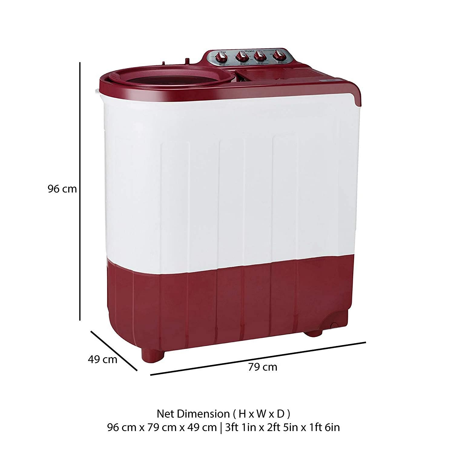 Whirlpool 7 5 kg Semi-Automatic Top Loading Washing Machine (Ace SuperSoak  7 5, Coral Red)