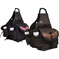 Tahoe Tack Nylon Multi Pocket Horse Saddle Bags with Leather Overlay Brown