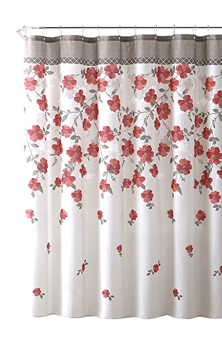 VCNY Home Lani Red Coral Taupe White Canvas Fabric Shower Curtain Contemporary Floral Bordered Design