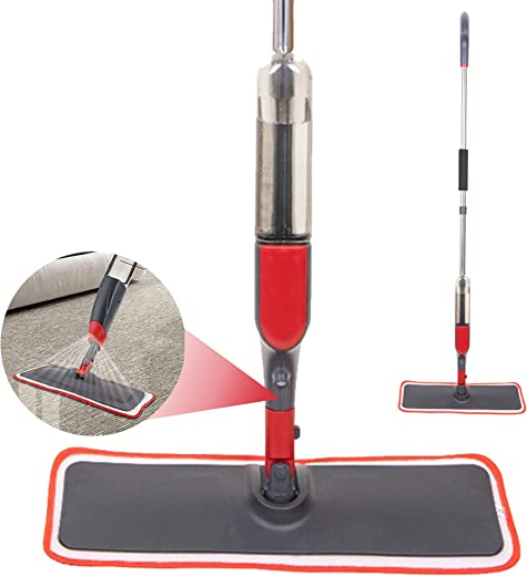 Spray Mop Strongest Heaviest Duty Mop - Best Floor Mop Easy to Use - 360 Spin Non Scratch Microfiber Mop with Integrated Sprayer - Includes Refillable 310ml Bottle & a Reusable Microfiber Pad