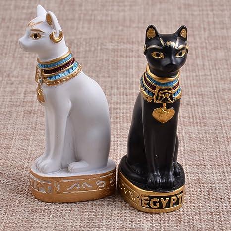 Favourall Figura Decorativa de Gato Egipcio, Diseño de Animales para el hogar, Adornos de Gato Antiguo (Negro): Amazon.es: Jardín