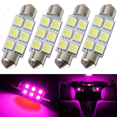 SAWE - 44MM 6-SMD 5050 Festoon Dome Map Interior LED Light Bulbs Lamp For 6411 578 211-2 212-2 (4 pieces) (Pink/Purple): Automotive