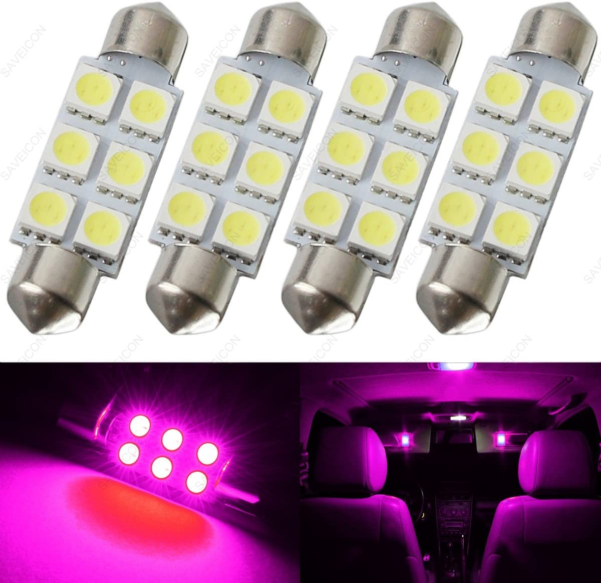 SAWE - 44MM 6-SMD 5050 Festoon Dome Map Interior LED Light Bulbs Lamp For 6411 578 211-2 212-2 (4 pieces) (Pink/Purple)