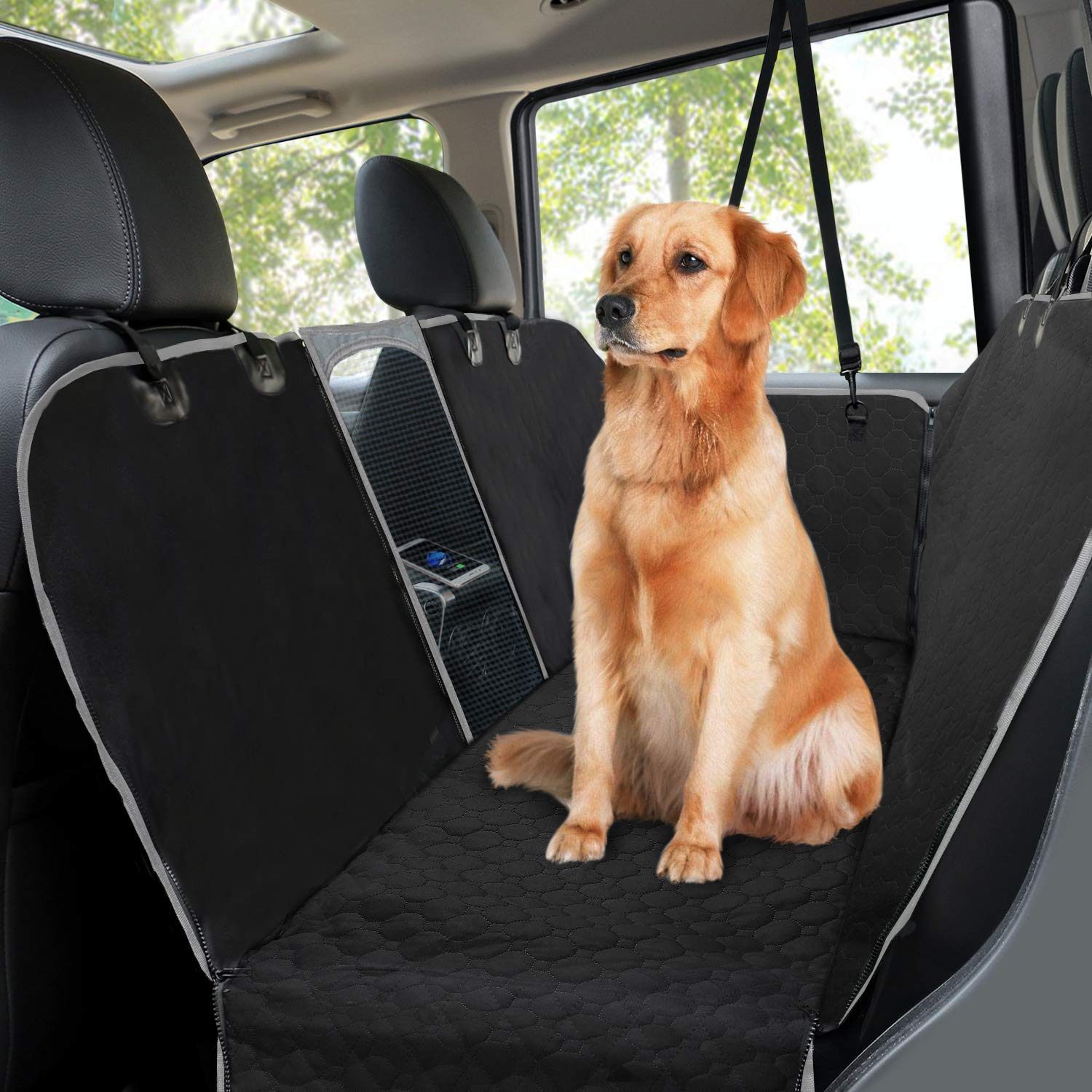 Car Seat Covers for Dogs,Waterproof Backseat Cover for Dogs Car with Mesh Window Side Flaps,Mancro Convertible Scratch Proof Pet Seat Cover Hammock, Durable Soft Seat Protector for Cars Trucks SUVs by Mancro
