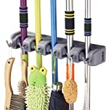 Mop Broom Holder, RockBirds T56 Multipurpose Wall Mounted Organizer, Ideal Broom Hanger for Kitchen, Garage, Warehouse(5 Position 6 Hooks)