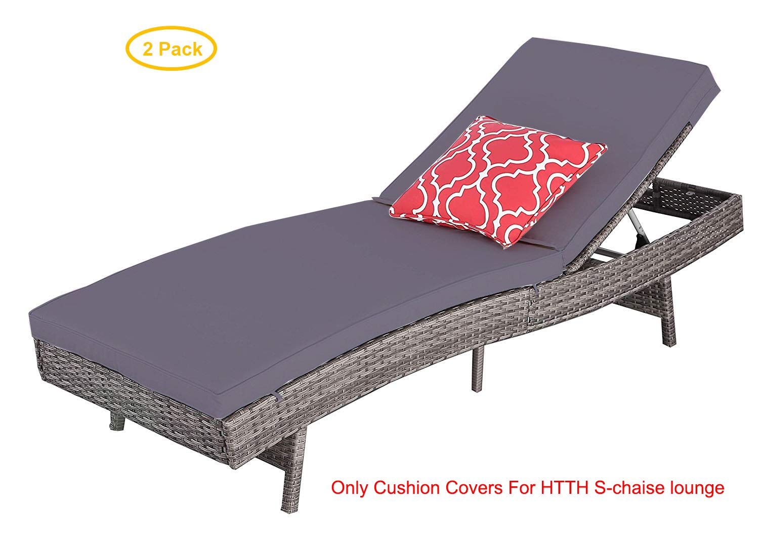 HTTH Outdoor Pool Garden Patio Chaise Lounge Recliner Bed Chair 2'' Cushion Covers (Dark Grey)