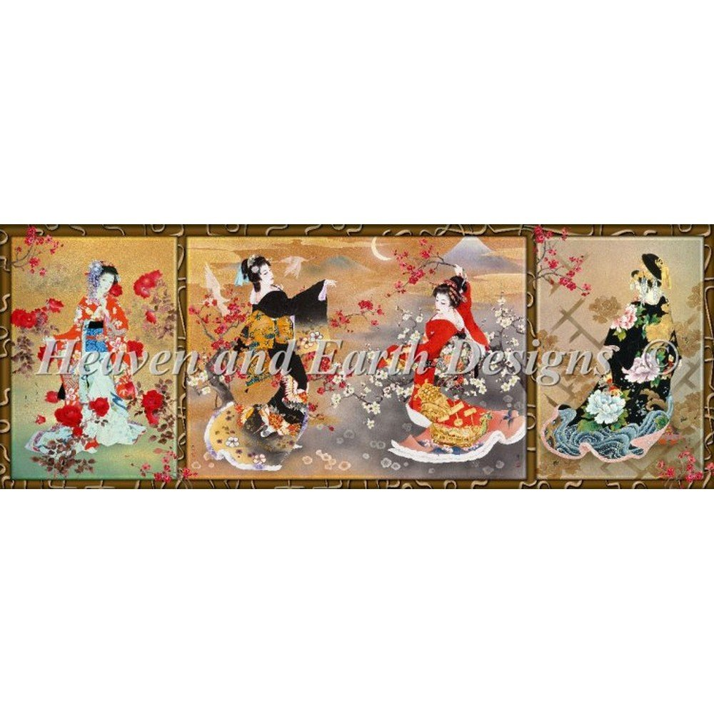 Heaven And Earth Designs(HAED) クロスステッチキットOriental Triptych [並行輸入品] B016CZ35AI