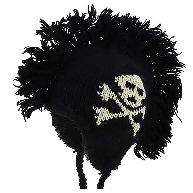 Armycrew 100% Wool Skull Crossbones Knitted Mohawk Winter Ski Beanie - Black 460bfb786933