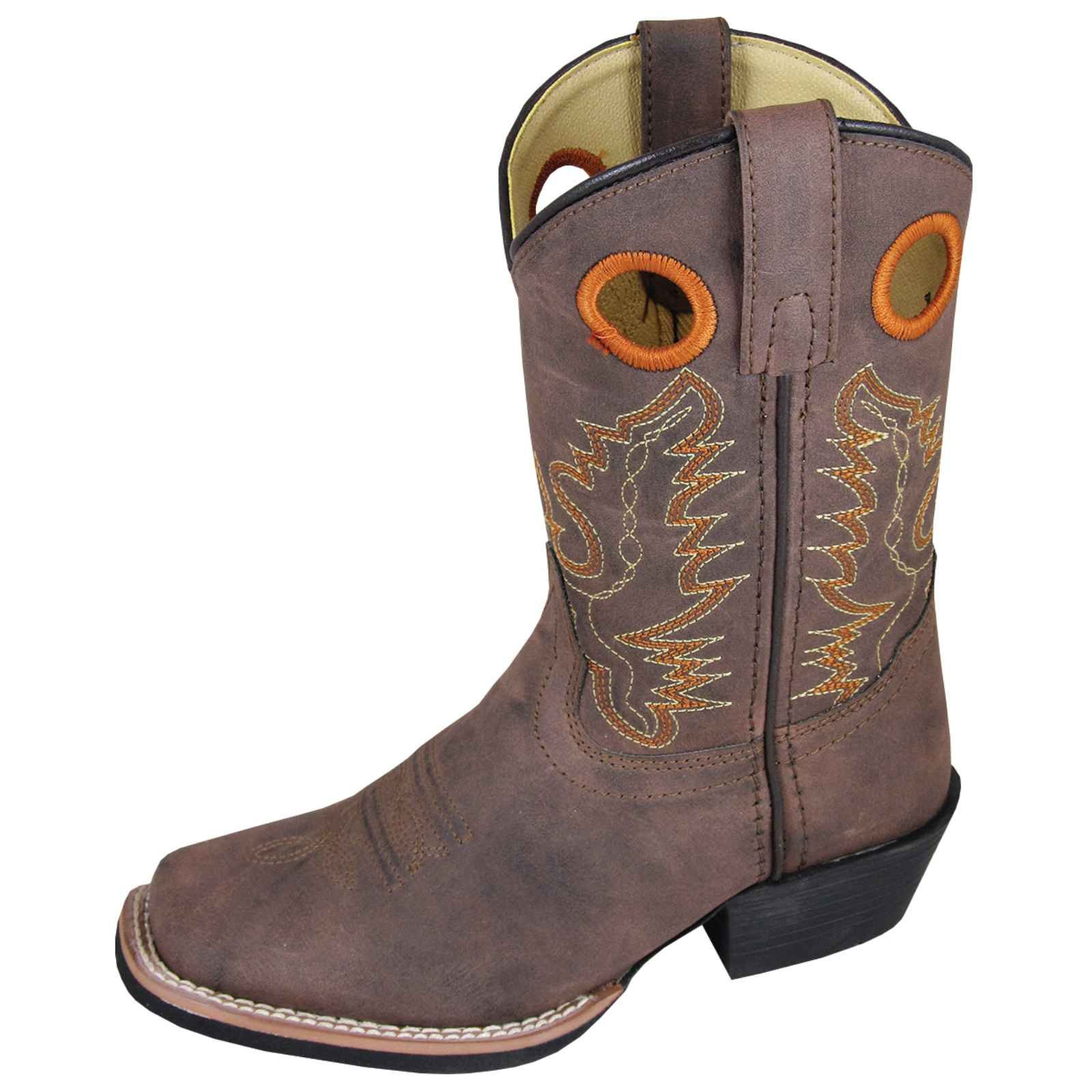 Smoky Mountain Childs Memphis Sq Toe Boot Brown Distress by Smoky Mountain Boots