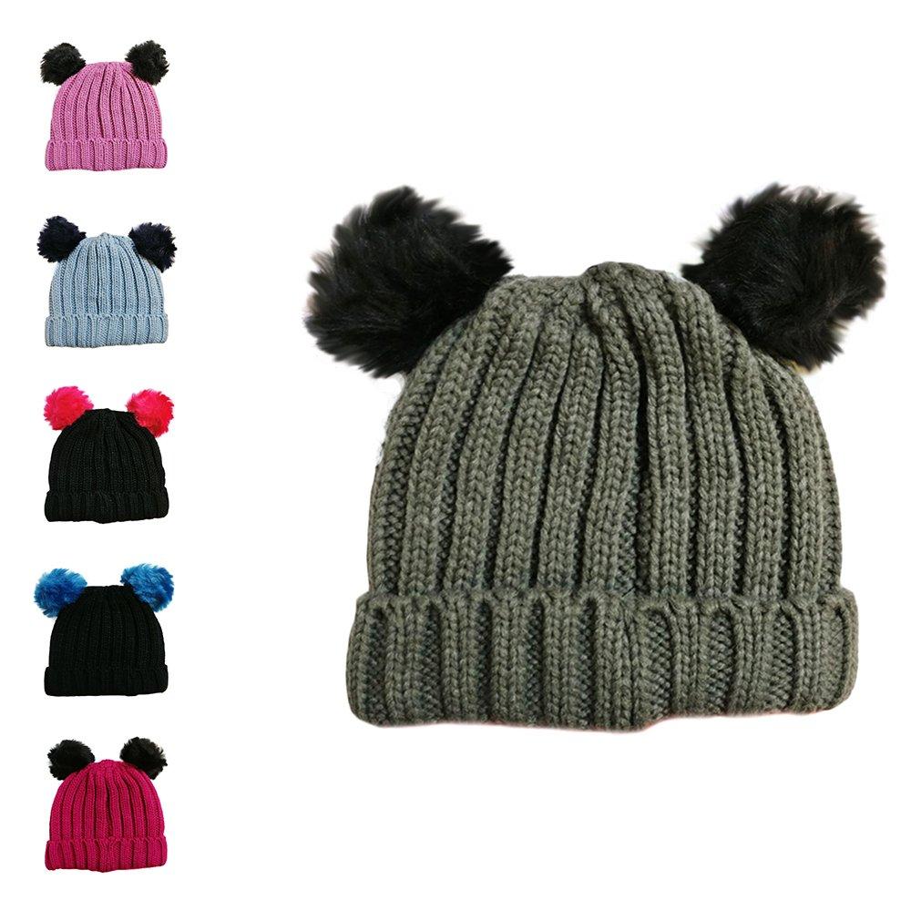 caldo 1 POM POM HAT BLACK con pompon singolo o doppio Cappello invernale per bambini e ragazze