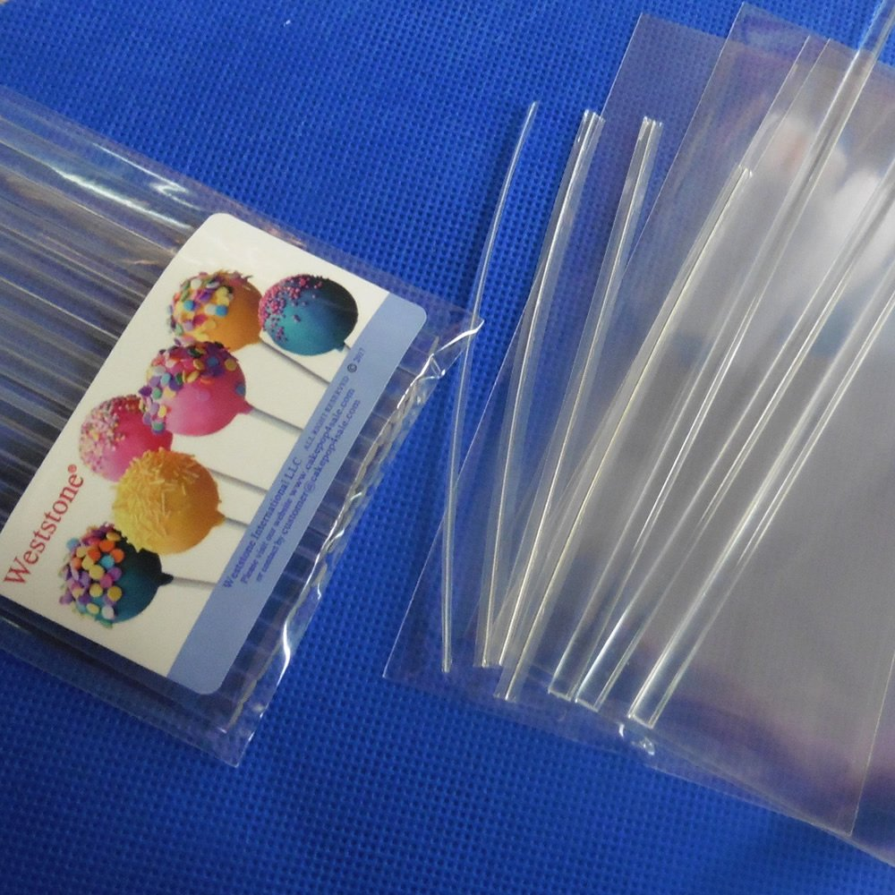 Weststone 50pcs 6'' clear Lollipop Sticks + 50 Poly Bags + 50 clear Twist Ties for Cake Pops or Lollipop candy