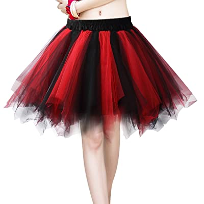 Acecharming Women's 1950's Vintage Tutu Ballet Bubble Dance Skirt Tulle Petticoat(Black and Red at Women's Clothing store