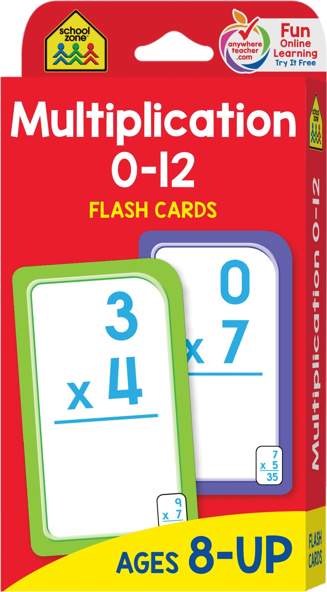 School Zone Multiplication 0 12 Flash Cards Ages 8 Grades 3 4