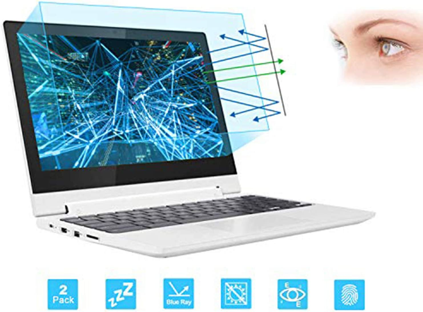 "2 Pack 11.6"" Laptop Screen Protector -Blue Light Filter, Eye Protection Blue Light Blocking Anti Glare Screen Protector for All 11.6"" 16:9 Laptop (!!!Not Include The Screen Bezel)"