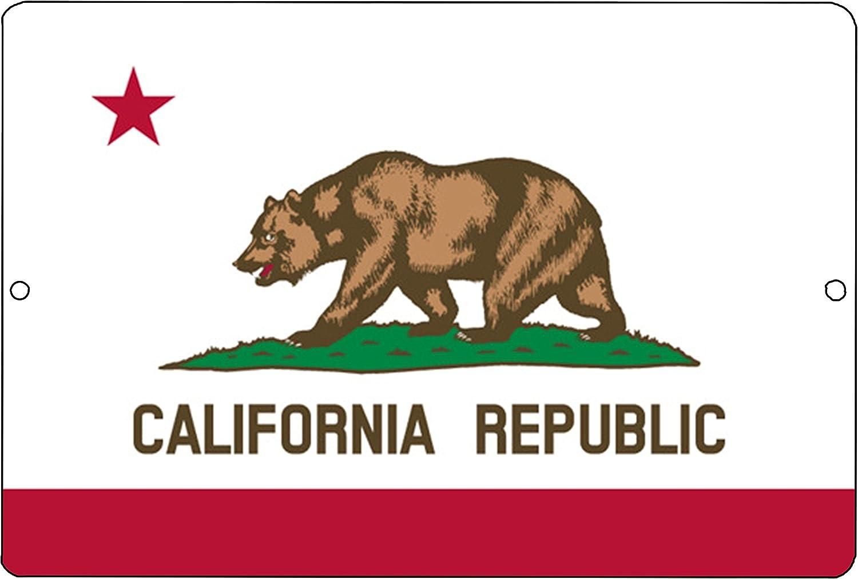 Rogue River Tactical California State Flag Metal Tin Sign Wall Decor Man Cave Bar California Republic CA