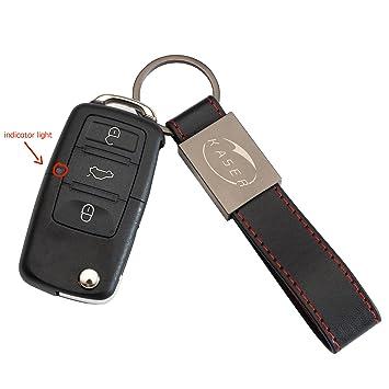 Carcasa Funda Llave Remoto Mando 3 Botones MK5 para VW Volkswagen Golf Tiguan Passat Seat Skoda con Llavero de Cuero KASER