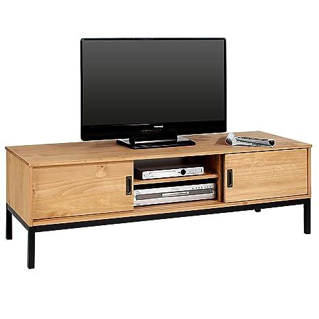 idimex lowboard tv mobel selma fernsehtisch fernsehschrank im industrial design mit 2 schiebeturen 1 offenes