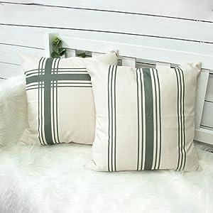 Farmhouse Ticking Striped Pillow Covers 18x18 Set of 2 Farmhouse Neutral Decorative Throw Pillow Covers for Home Decor (Sage Green&Cream)