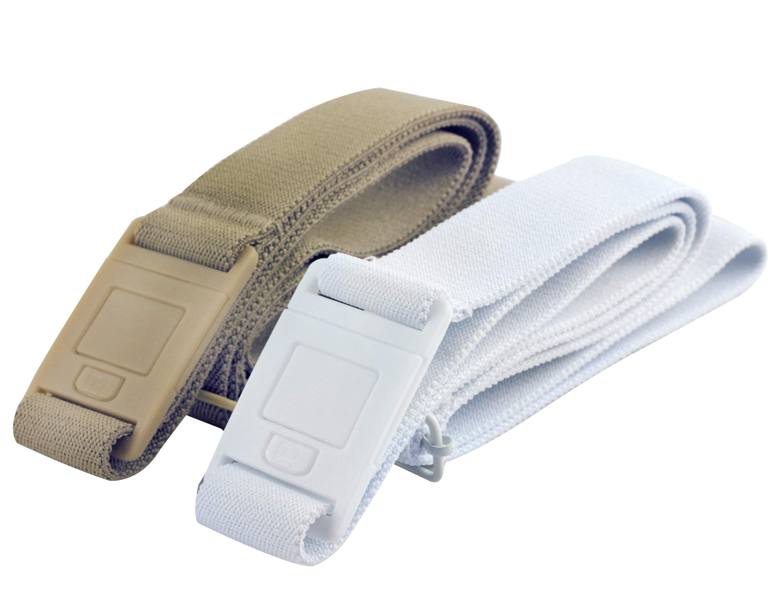 Beltaway SQUARE Adjustable Stretch Belt With No Show Square Buckle 2PK Sand/White One Size