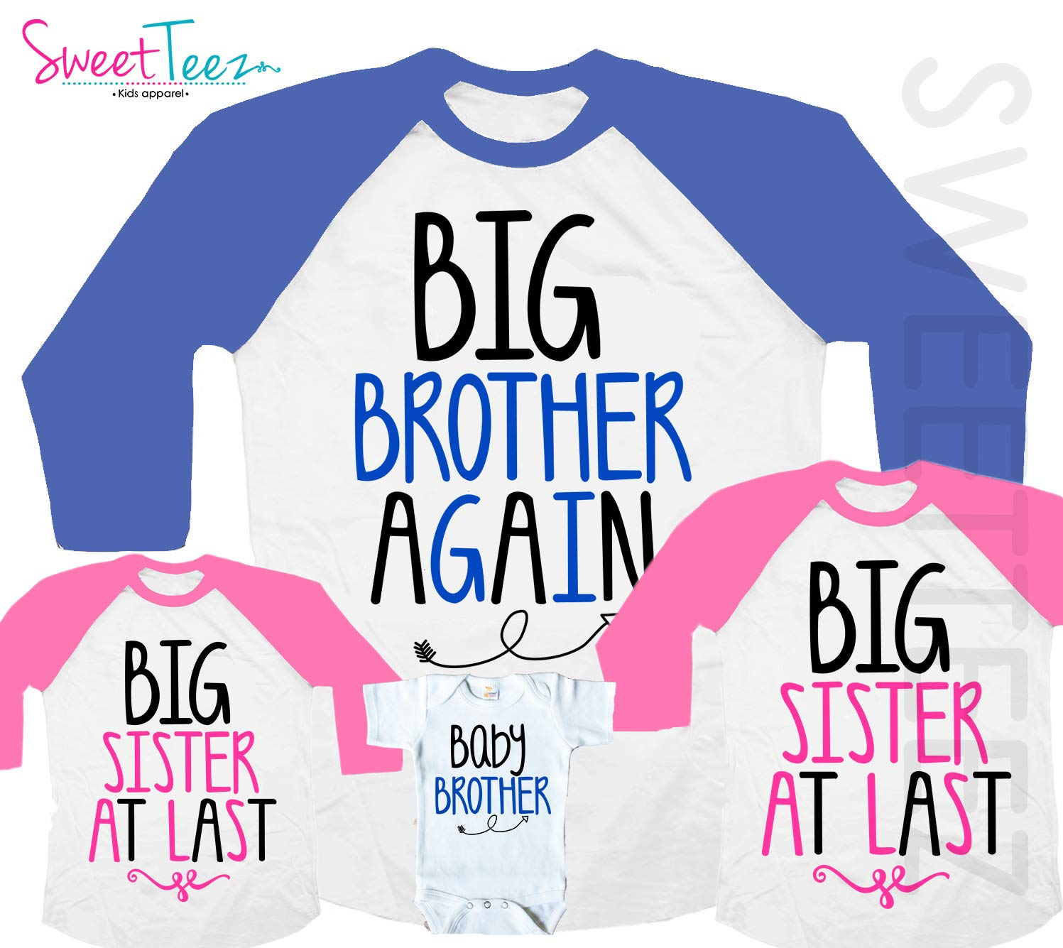 39ca8514834fd Amazon.com: Big Brother Again Big Sister At Last Baby Brother Shirt Set Of  4: Handmade