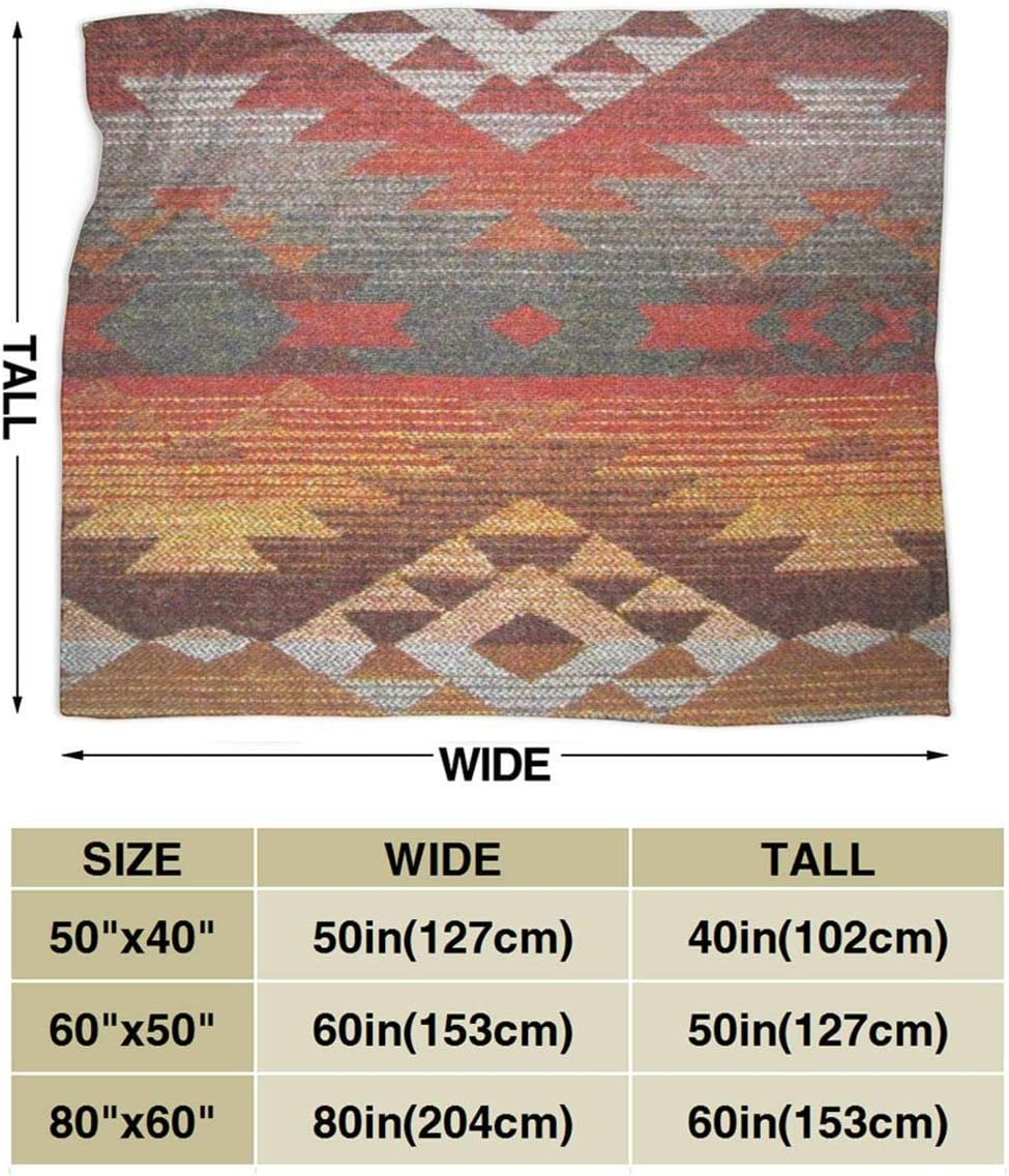 80x60 in 60x50 in Navajo Ethnic Micro Fleece Throw Blanket Super Soft Lightweight Wrinkle Resistant Bedspreads All Season for Home Office Travel Size 50x40 in OUCUCK Mantas para Cama