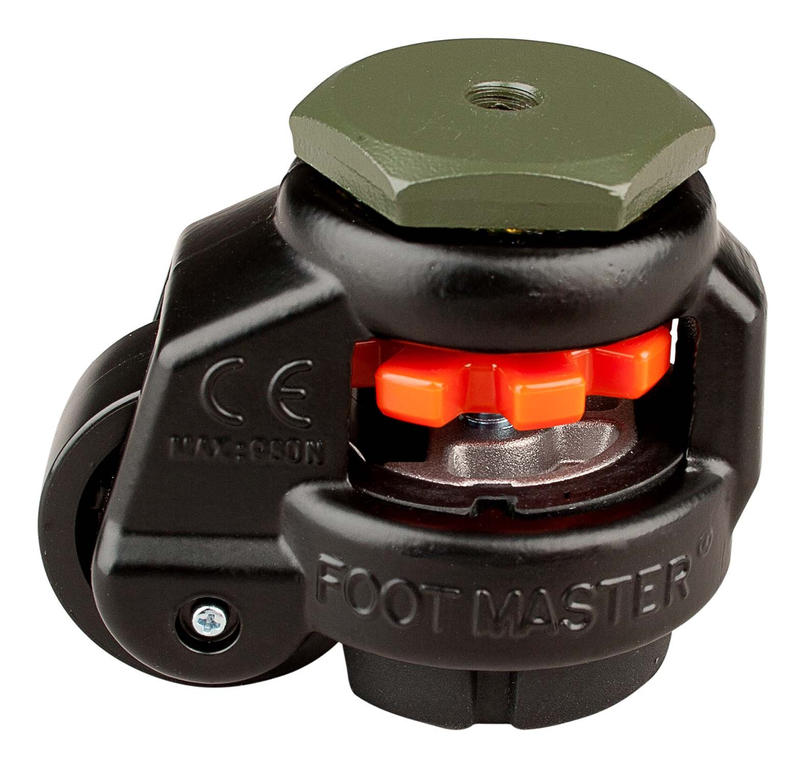 FOOTMASTER GD-40S-BLK Nylon Wheel and NBR Pad Leveling Caster, 110 lbs, Stem Mounted with 0.315'' Mounting Hole Diameter, Black Finish