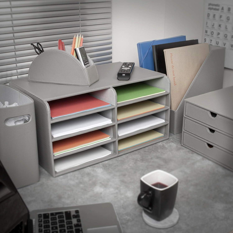 almacenamiento de archivos de escritorio estante de papel EHC color gris Soporte para revistas de piel sint/ética de 3 secciones