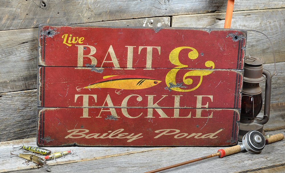 Bailey Pond New Hampshire, Bait and Tackle Lake House Sign - Custom Lake Name Distressed Wooden Sign - 27.5 x 48 Inches