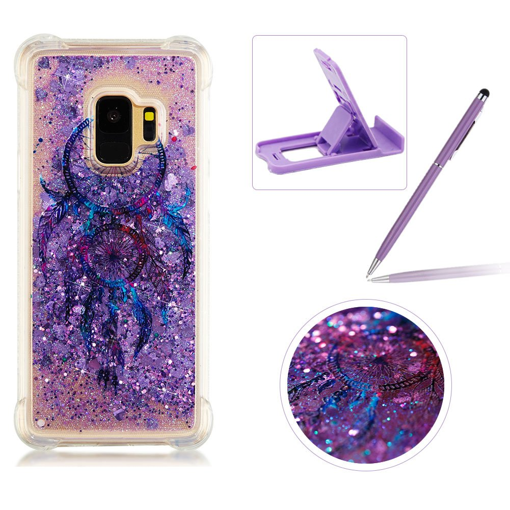 Liquid TPU Case for Samsung Galaxy S9,Shock-Absorbing Glitter Rubber Case for Samsung Galaxy S9,Herzzer Stylish Ultra Slim Purple Campanula Pattern Sparkly Quicksand Sequins Soft Flexible Shockproof Scratch Resist Silicone Cover