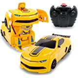 Kids RC Toy Transforming Robot Remote Control Yellow Sports Car Wall Climber 1/24 Scale