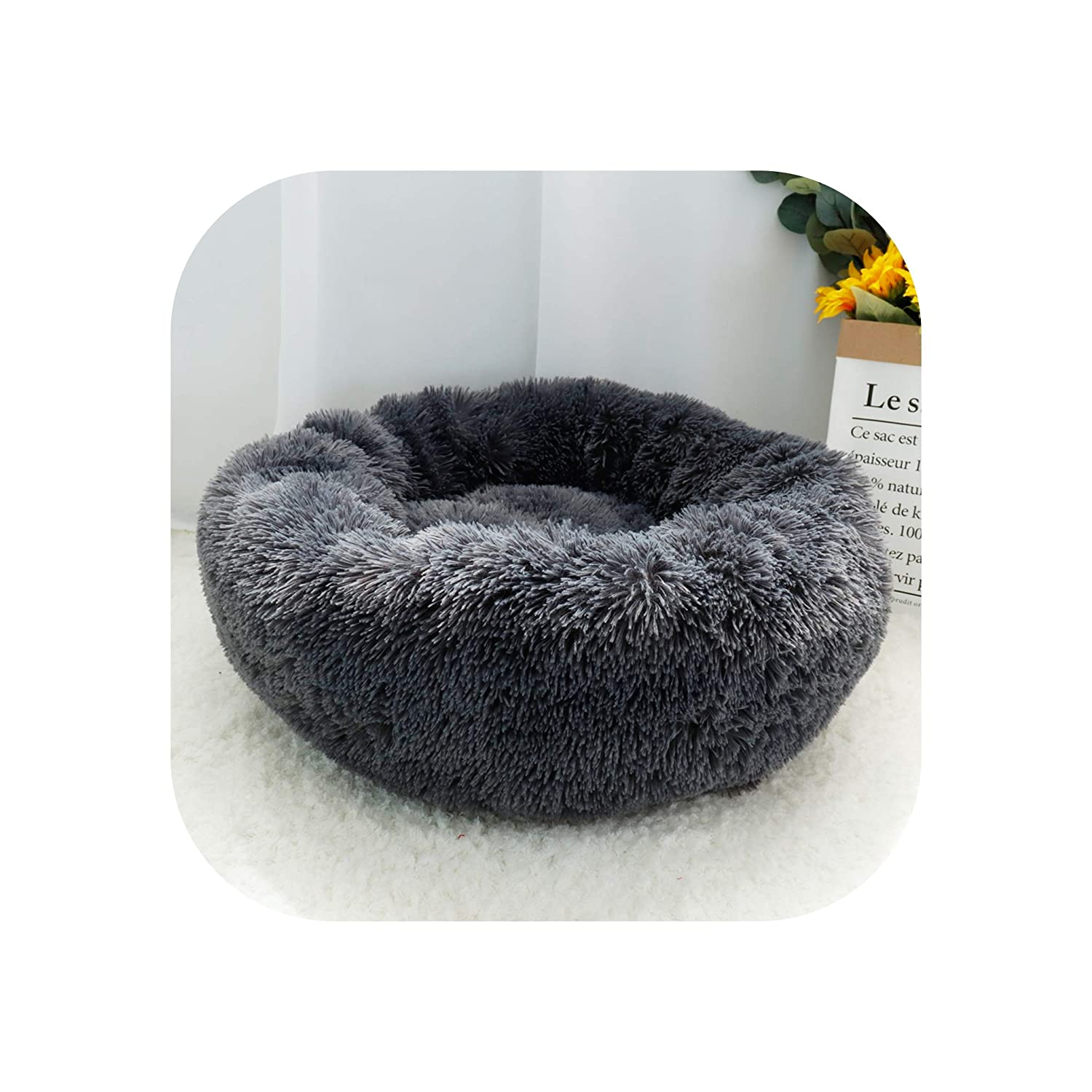 Little-Goldfish Warm Fleece Dog Bed Round Pet Cushion for Small Medium Large Dogs Cat Long Plush Winter Dog Kennel Puppy Mat Bed Lounger Sofa