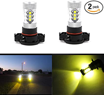 Dantoo Pack of 2 2504 LED Fog Light Bulbs Extremely Bright 3000K 16 SMD PSX24W LED Bulbs Fog Light Lamp Replacement for DRL or Fog Lights Gold Yellow
