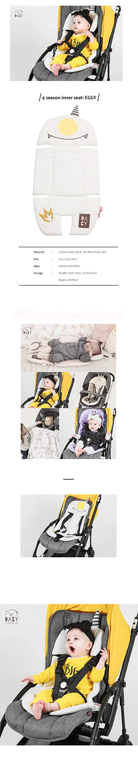 100% Cotton/Breathable Cover Air Mesh Cool Seat Pad/Cushion/Liner for Stroller and Car Seat (Monster Character Design) (EGGY) by Daby Korea (Image #2)