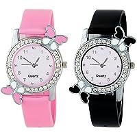 Crispy Combo Diamond Studded Pink and Black Butterfly Stylish Analog Watch for Girls & Women