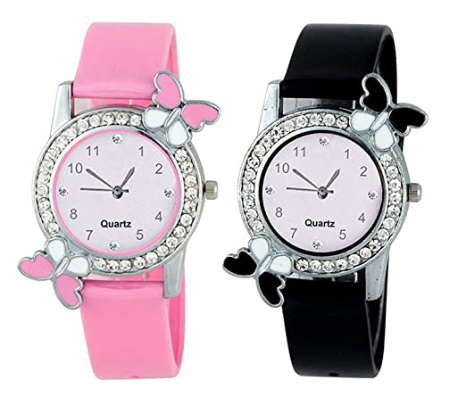 Crispy Combo Diamond Studded Pink and Black Butterfly Stylish Analog Watch for Girls & Women