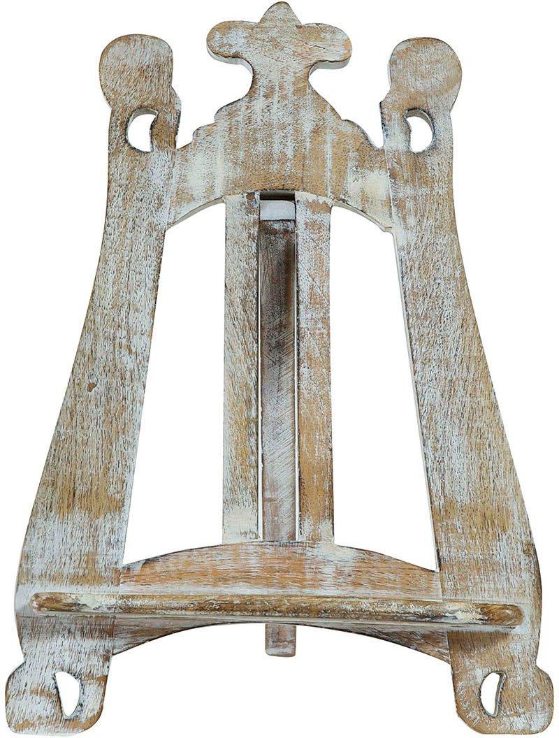 Leggio da appoggio in legno finitura bianca anticata L57xPR7xH38 cm