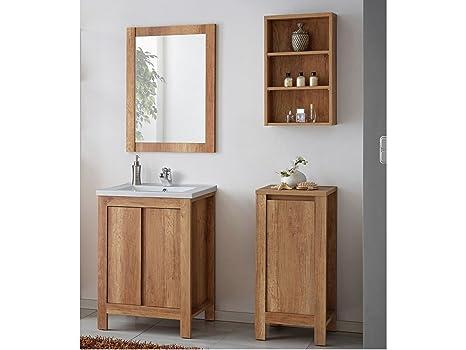Set mobili da bagno classico quercia con lavandino legno