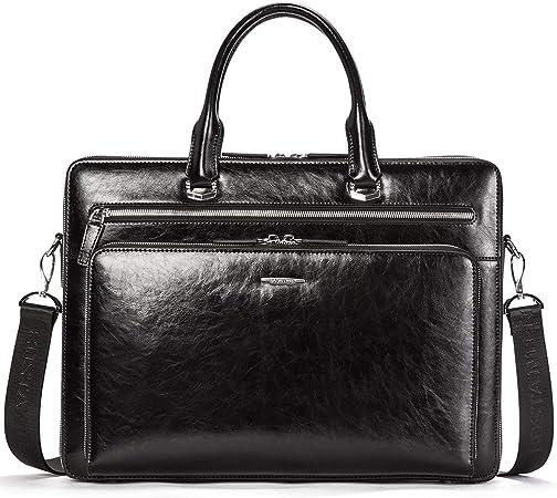 Bostanten Herren Leder Aktentasche 15 Zoll Laptoptasche Männer Businesstasche Schultertaschen Henkeltasche Bürotasche Schwarz Koffer Rucksäcke Taschen