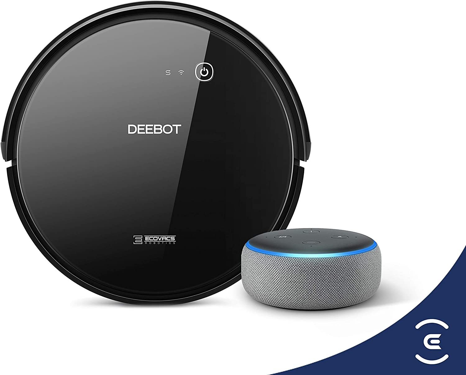ECOVACS DEEBOT 601 Robotic Vacuum Cleaner with App Control Bundle with Echo Dot 3rd Gen (Charcoal)