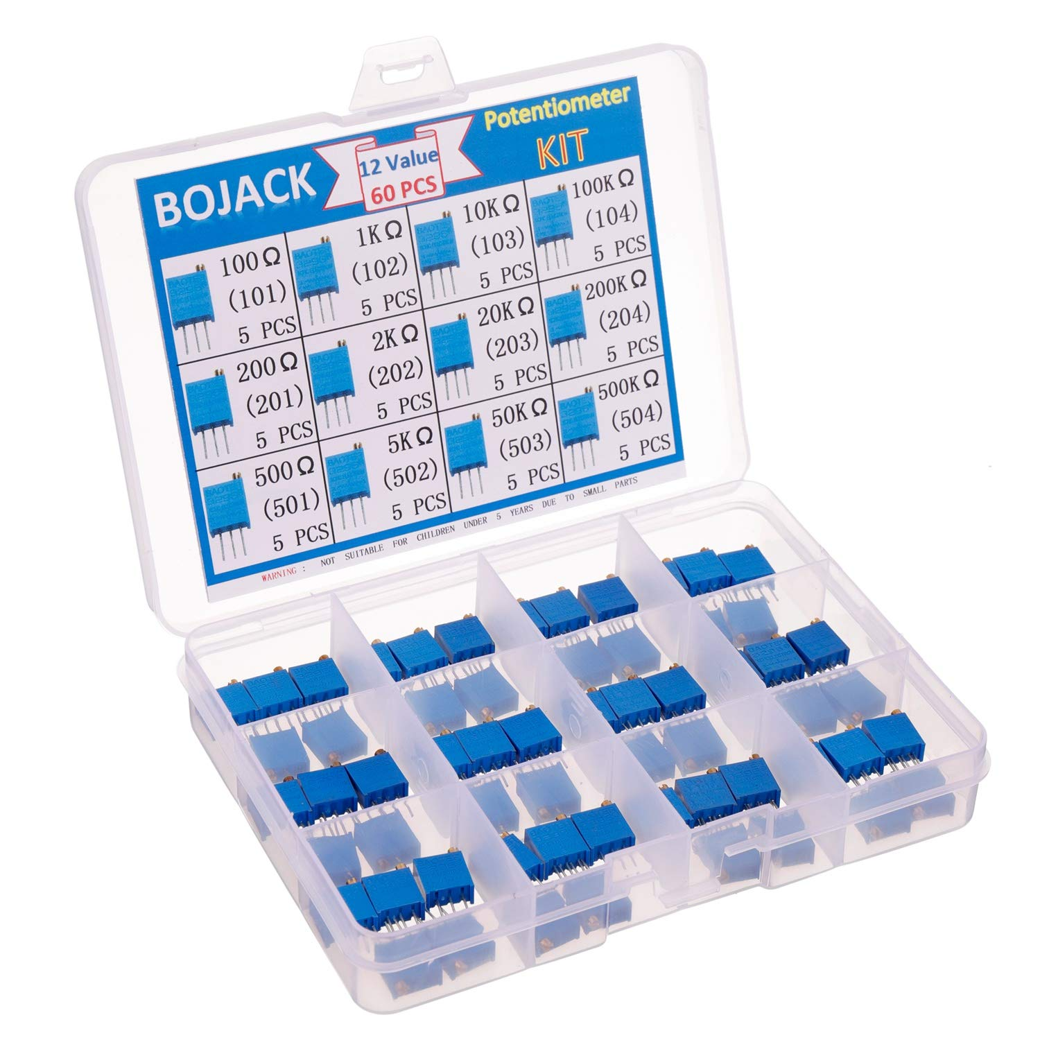 BOJACK 12 Values 60 pcs 100 to 500K ohm 3296W Multiturn Trimmer Potentiometer Assortment Kit packag in a Clear Plastic Box