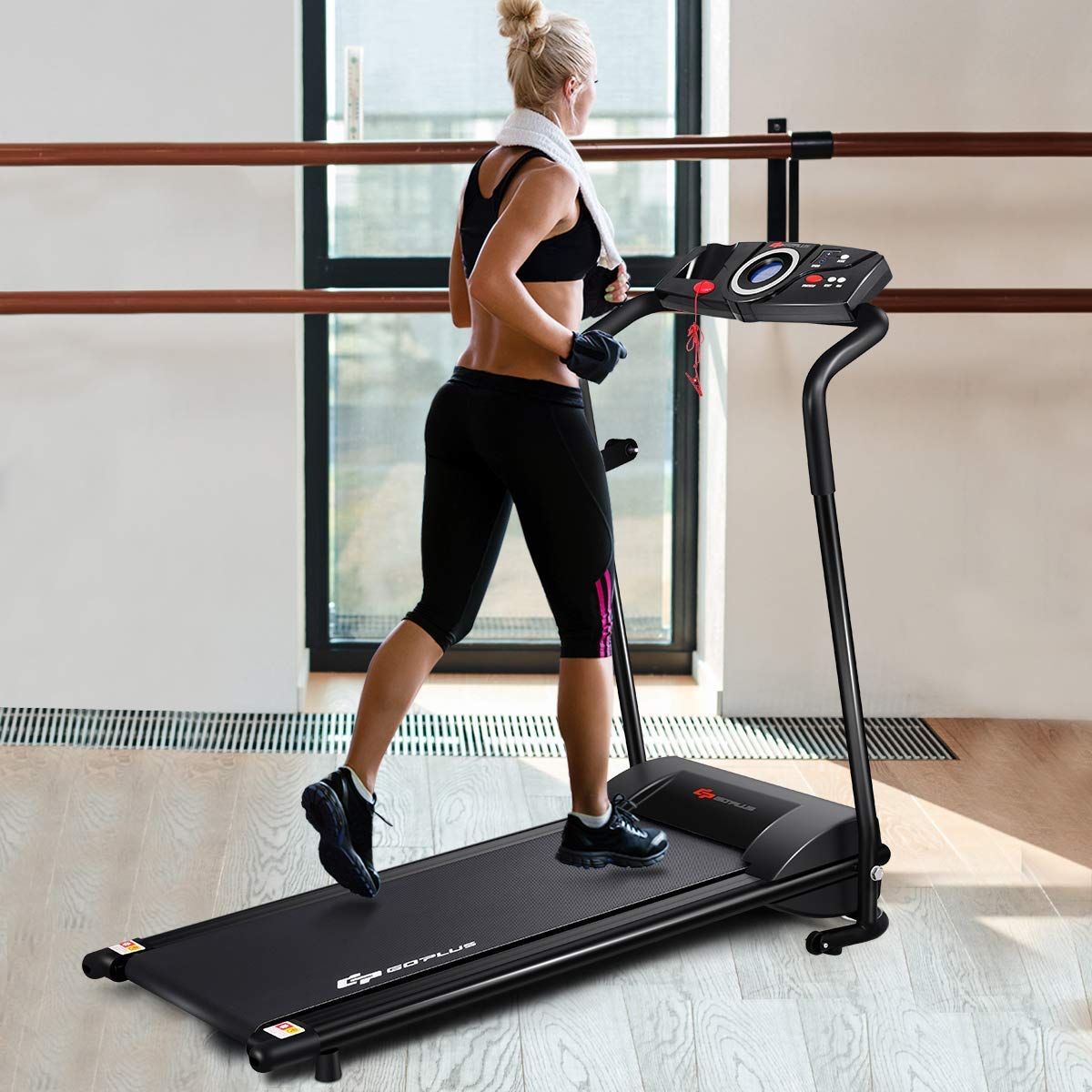 Goplus Compact Treadmill Walking Running Machine Low Noise, Built-in 2 Workout Modes and 12 Programs, with Display