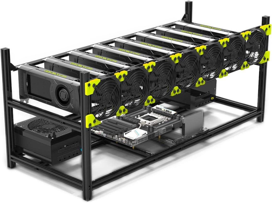 soporte de aluminio para 8 gpus para minar bitcoin open air