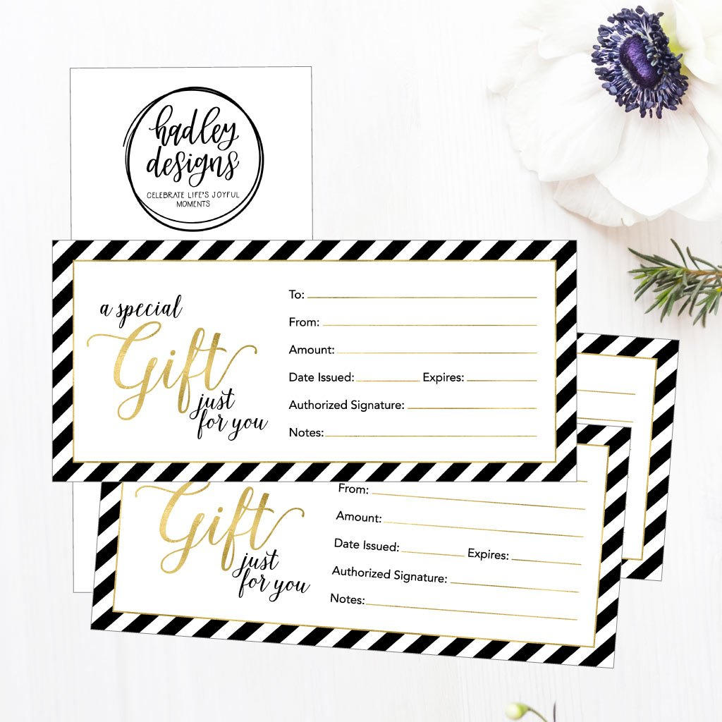 25 4x9 Cute Blank Gift Certificate Cards For Business, Restaurant, Spa, Beauty Makeup Hair Salon, Wedding, Bridal, Baby Shower Print Custom Personalized Bulk Template Kit Forms Printable by Hadley Designs (Image #4)