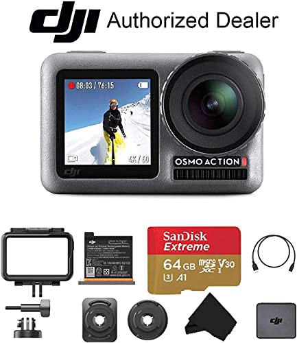 DJI OSMO Action – Dual Touch Display Waterproof Digital Action Camera with 4K HD Video 12MP Photos Live Streaming Stabilization Starter
