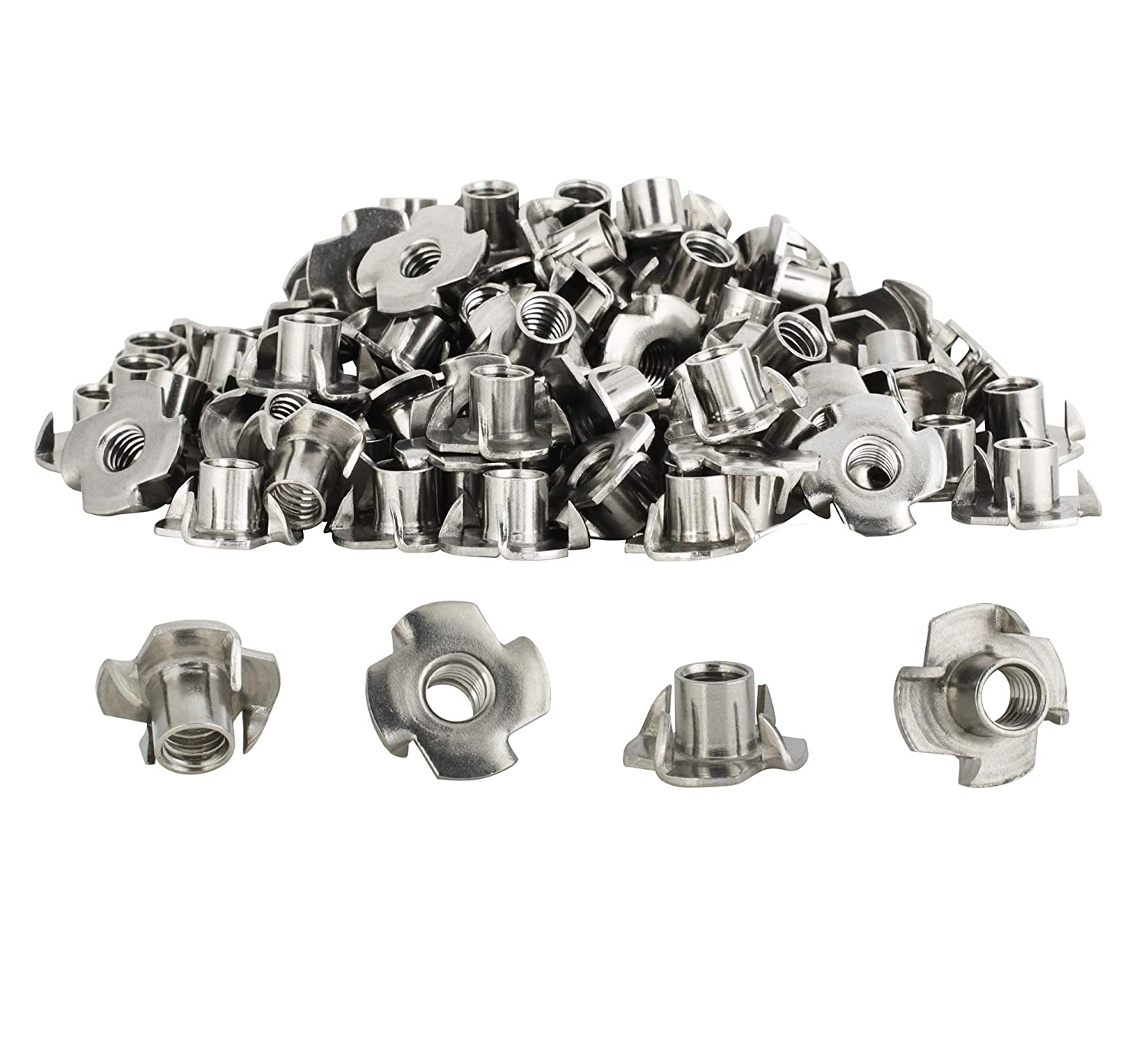 10 Pack Climbing Holds or Leveling Feet 4 Prong T Nut with 5//16-18 Threads for Indoor or Outdoor use with Furniture Stainless Steel 5//16 T-Nuts